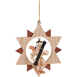 Angel Sitting in a Star with Bassoon, Natural  -  9cm / 3.5 inch