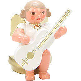 Angel White/Gold Sitting with Guitar  -  5,5cm / 2 inch