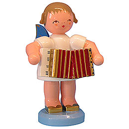 Angel with Accordion  -  Blue Wings  -  Standing  -  9,5cm / 3,7 inch