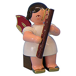 Angel with Bassoon  -  Red Wings  -  Sitting  -  5cm / 2 inch