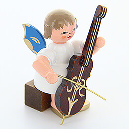 Angel with Cello  -  Blue Wings  -  Sitting  -  5cm / 2 inch