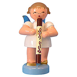 Angel with Didgeridoo  -  Blue Wings  -  Standing  -  6cm / 2,3 inch