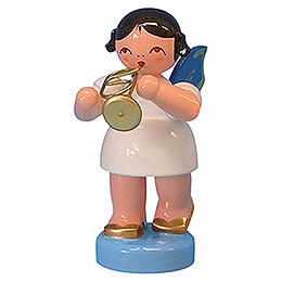 Angel with Flugelhorn  -  Blue Wings  -  Standing  -  6cm / 2,3 inch