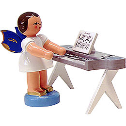 Angel with Keyboard  -  Blue Wings  -  Standing  -  6cm / 2.3 inch