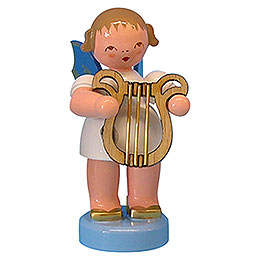 Angel with Lyre  -  Blue Wings  -  Standing  -  6cm / 2,3 inch