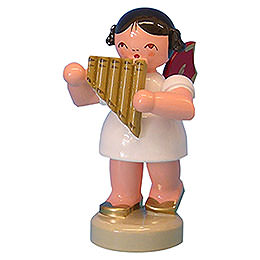 Angel with Panpipe  -  Red Wings  -  Standing  -  6cm / 2,3 inch
