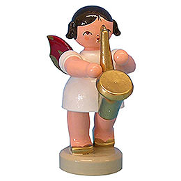 Angel with Saxophone  -  Red Wings  -  Standing  -  6cm / 2,3 inch