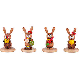 Bunnies  -  4 pcs.  -  Chick, Watering Can, Carrot and Egg  -  5cm / 2 inch