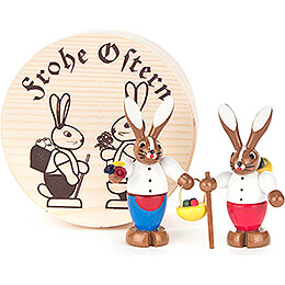 Bunny Couple colored in Wood Chip Box  -  4cm / 1.6 inch