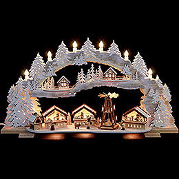 Candle Arch  -  Christmas Market with Snow  -  72x43x13cm / 28x16x5 inch