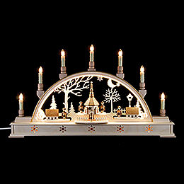 Candle Arch  -  'Church of Seiffen with Carolers'  -  63x35cm / 25.6x13.8 inch