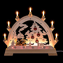 Candle Arch  -  House with House, Skier and Balls  -  48cm / 18.9 inch