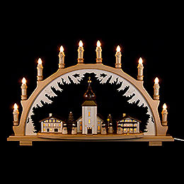 Candle Arch  -  Mountain Church with Carolers  -  66x43cm / 26x16.9 inch