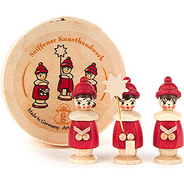 Carolers red in Wood Chip Box  -  3,5cm / 1.4 inch