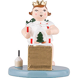 Christmas Angel Sitting with Crown and Pyramid  -  6,5cm / 2.6 inch
