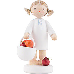 Flax Haired Angel with Apple Basket  -  5cm / 2 inch