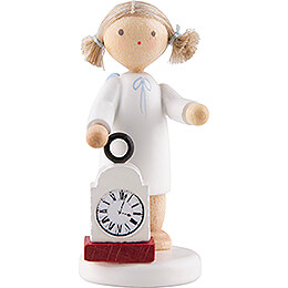 Flax Haired Angel with Clock  -  5cm / 2 inch