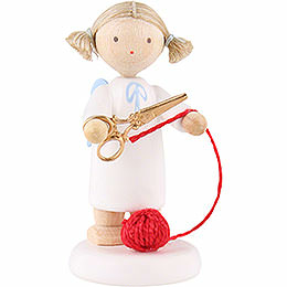 Flax Haired Angel with Scissors and Ball of Wool  -  5cm / 2 inch