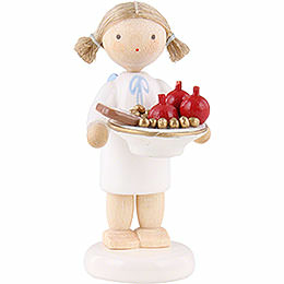 Flax Haired Angel with St. Nick Plate  -  5cm / 2 inch