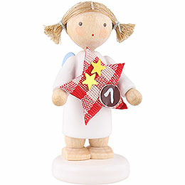 Flax Haired Angel with Star (1)  -  5cm / 2 inch