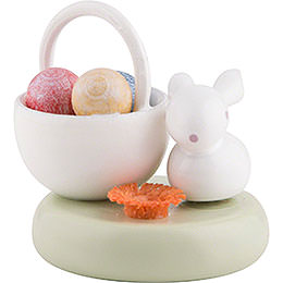 Flax Haired Children Bunny with Egg Basket  -  2cm / 1 inch