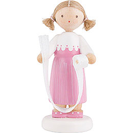 Flax Haired Children Girl with Decorative Ribbon  -  5cm / 2 inch