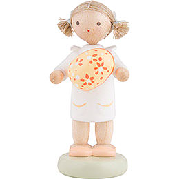 Flax Haired Children Girl with Easter Egg, Yellow  -  5cm / 2 inch