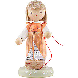 Flax Haired Children Girl with Sailboat  -  Edition Flade & Friends  -  5cm / 2 inch