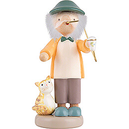 Flax Haired Children Grampa with Kitten  -  5cm / 2 inch