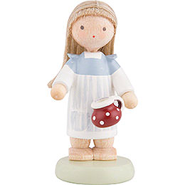 Flax Haired Children Little Girl with Little Pot  -  5cm / 2 inch