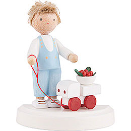 Flax Haired Children Small Boy with Toy Car and Cherries  -  5cm / 2 inch