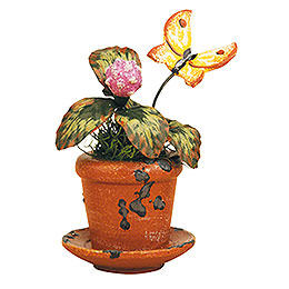Flower Pot Clover Flower  -  Set of Three  -  6cm / 2,5 inch