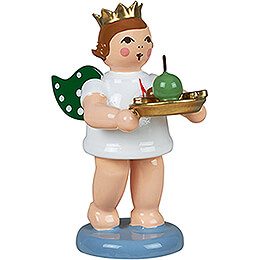 Gift Angel with Crown and Christmas Plate  -  6,5cm / 2.6 inch