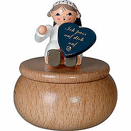 """Guardian Angel with Box """"Ich Pass ...""""  -  6cm / 2.4 inch"""