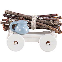 Hand Cart with Wood Bundle  -  1,6cm / 0.6 inch