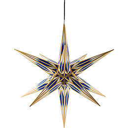 Hasslau Christmas Star  -  Blue/White with Golden Pattern and Lighting  -  75cm / 30 inch  -   Inside/Outside Use