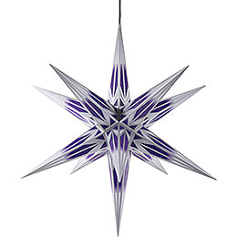 Hasslau Christmas Star  -  Purple/White with Silver Pattern and Lighting  -  75cm / 30 inch  -   Inside/Outside Use