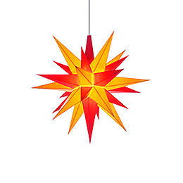Herrnhuter Moravian Star A1e Yellow/Red Plastic  -  13cm/5.1 inch