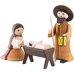 Holy Family, Set of Three, Stained  -  7cm / 2.8 inch