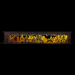 Illuminated Stand Bridge in the Forest with carved Figurines  -  80cm / 31.5×5.9 inch