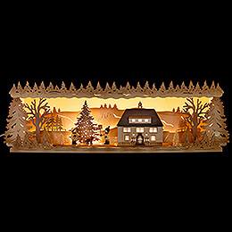Illuminated Stand  -  Seiffen Townhall with Christmas Tree  -  57x17cm / 22.5x6.7 inch