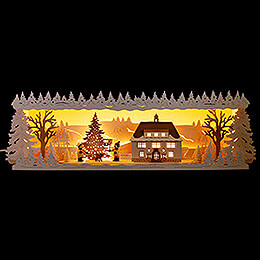 Illuminated Stand  -  Seiffen Townhall with Snow  -  57x17cm / 22.5x6.7 inch