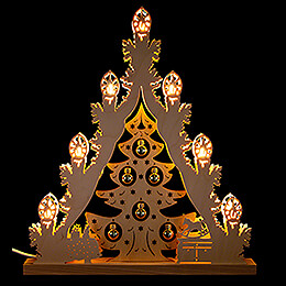 """Light Triangle """"Christmas Tree with Golden Baubles""""  -  38x44cm / 15x17.3 inch"""