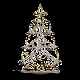 Light Triangle  -  Fir Tree with Cones, Snow Balls and White Frost  -  38x72cm / 15x28.3nch