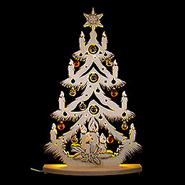 Light Triangle  -  Fir Tree with Copper/Golden Christmas Balls  -  72x38cm / 28x15 inch