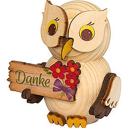 """Mini Owl with """"Thank you""""  -  7cm / 2.8 inch"""