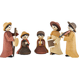 Musicians, Set of Five, Stained  -  7cm / 2.8 inch