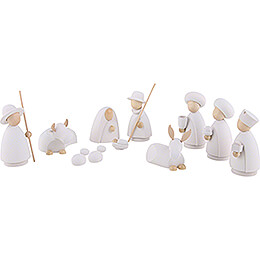 Nativity Set of 11 Pieces White/Natural  -  Large  -  10,0cm / 4.0 inch