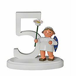 """Number """"5"""" with Angel  -  7cm / 2.8 inch"""