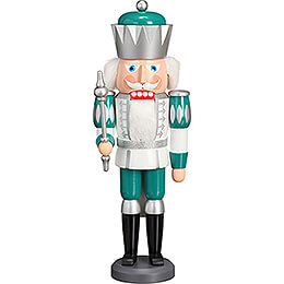 Nutcracker  -  King Exclusive White - Silver - Mint Turquoise  -  40cm / 15.7 inch